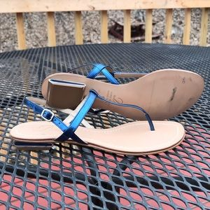Delman Glossy Blue Slate Size 6M Thong Sandals